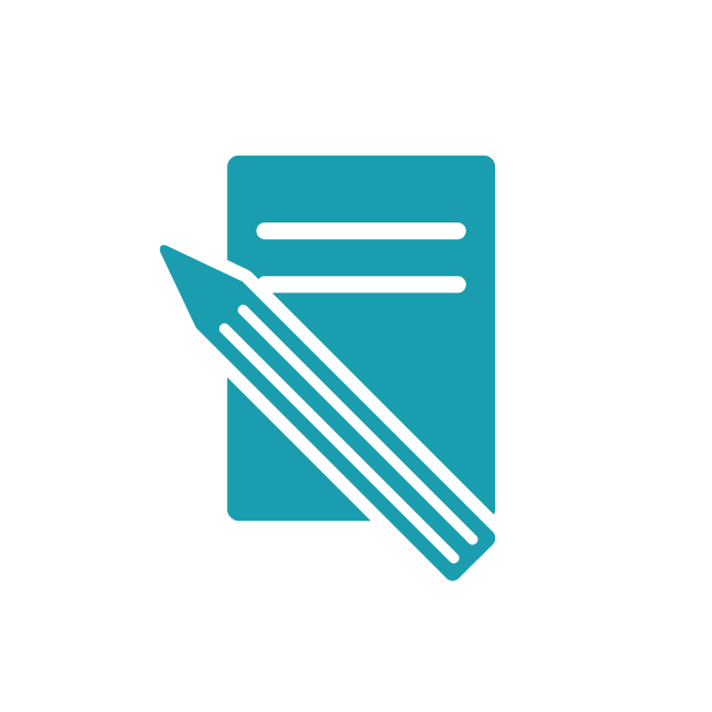 Paper and pencil teal icon